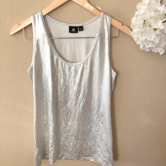 9a93bcf256a402 Silver metallic foil tank top women s blouse. M 5b30658a4ab633e75580e028